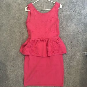 Pink Peplum Bodycon Party Dress